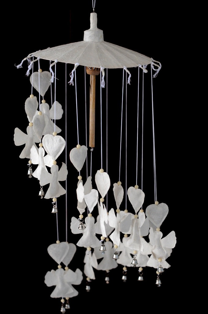 beautiful handmade umbrella hanging lantern white love cupid angel and