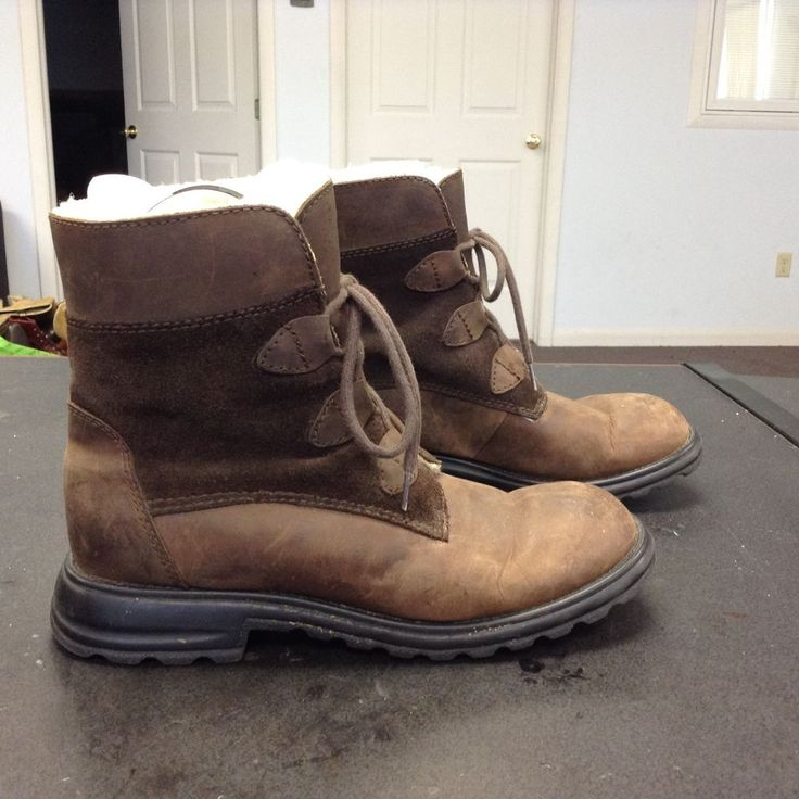 Khombu Brown Leather Insulated Boots Women's Size 8.5 B  #Khombu #AnkleBoots