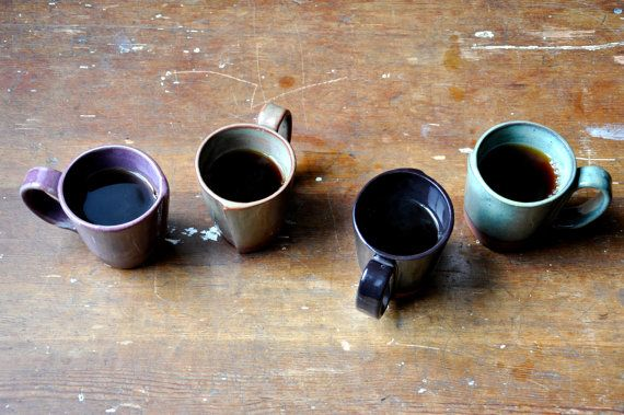 4 small rustic hand build mugs cinnamon purples by JustWork