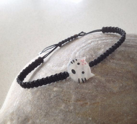 Cat charm black macrame bracelet friendship by keepcalmandbeadon, £9.00