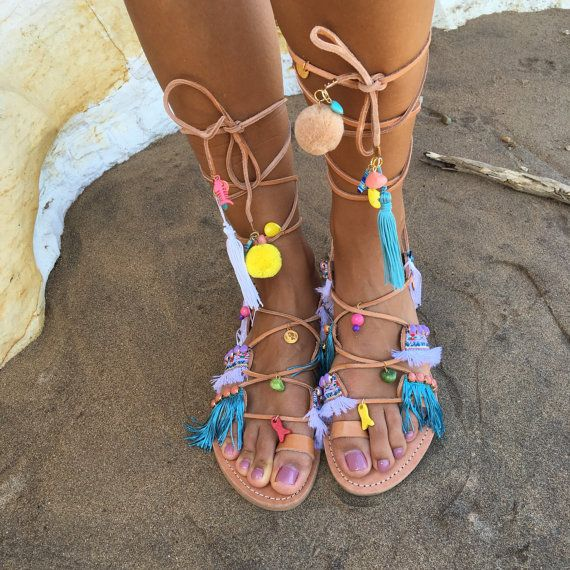 gorgeous and exotic summer style gladiator sandals go tribal with colour and pizzazz, created to your foot measurement. Ruby boho leather sandals by ValsamiSandals on Etsy
