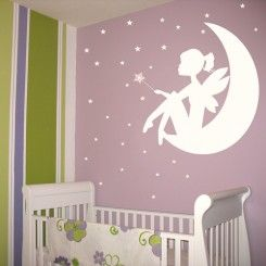 Fairy  Little Girl on the Moon - Wand and Stars - Wall Decals