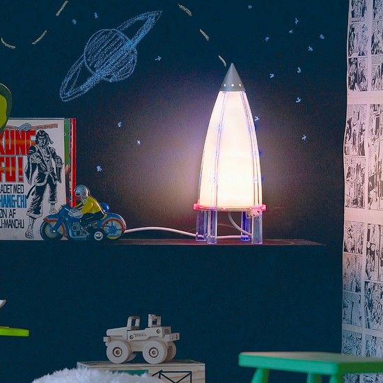Outer Space Room Decor For Teen: Rocket Lamp Invite Curiosity With An Outer Space Themed