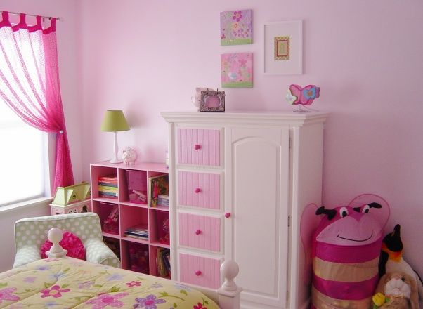 "Big Girl Room on a Budget, My 4-year old daughter outgrew her toddler bed/room, so it was time to update and purchase a big girl bed.  I call this ""Girly Nature"" themed., Lots of pink!, Girls Rooms Design"