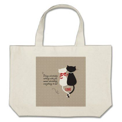 Cats in Love Large Tote Bag - wedding bag marriage design idea custom unique