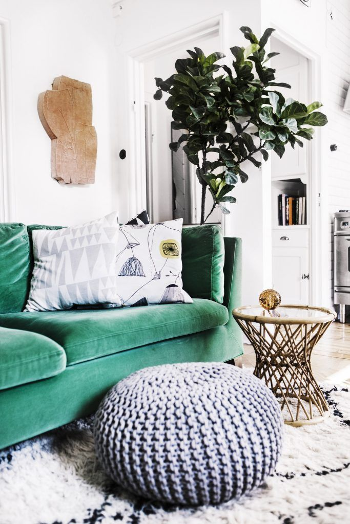 Grey pouf ottoman with green couch, Pinterest. http://www.kenisahome.com/blog
