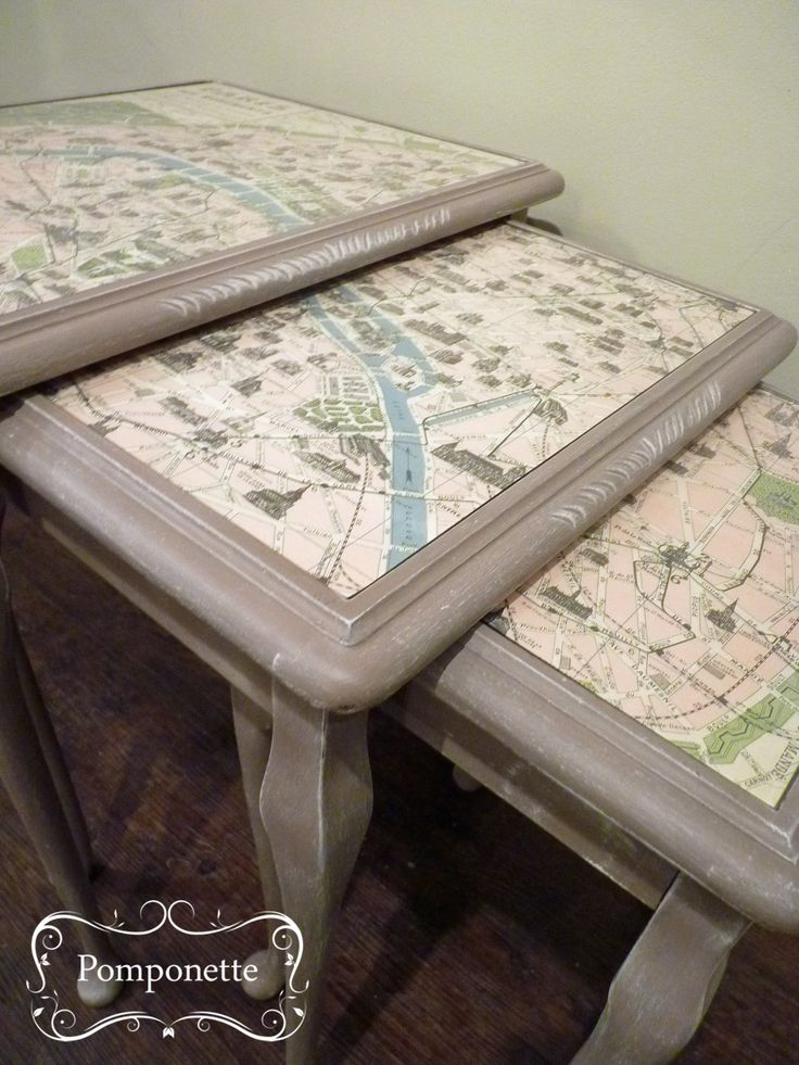 Nest of Tables. @anniesloanhome Coco #chalkpaint frames this Paris map beautifially   by Pomponette   Leicester   SOLD