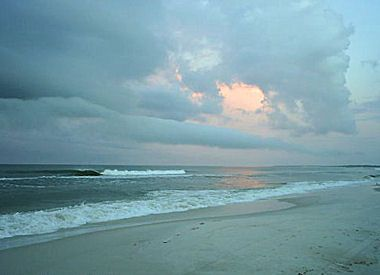 Evening waves and clouds at Mexico Beach, Florida