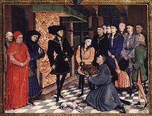 Philipp der Gute, Herzog von Burgund, empfängt die Chronik von Hainault. Neben ihm sein Sohn Charles, Graf von Charolais, der spätere Herzog Karl der Kühne