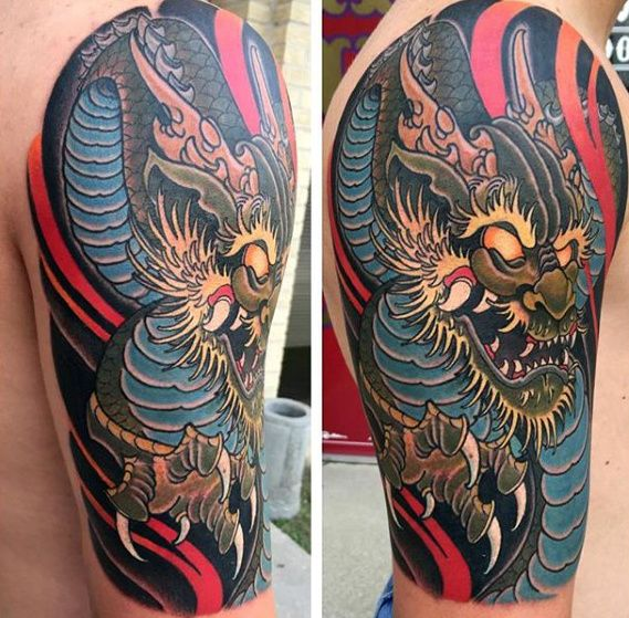 Afbeeldingsresultaat voor new school dragon tattoo