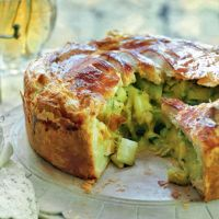 Stilton, leek and potato pie