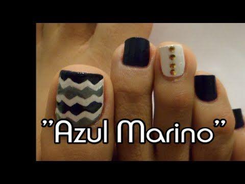 Chevron Decoración Otoño e Invierno uñas de los pies/Chevron toe nail art