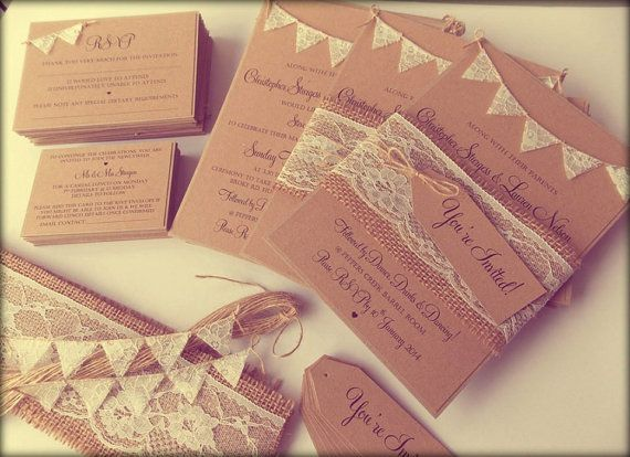 Deposit for Sally - Rustic Wedding Invitation Lace Bunting on Kraft Card with Burlap and Lace band .