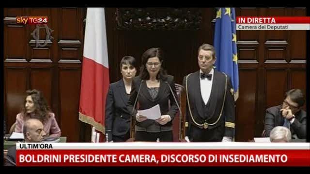 Boldrini presidente Camera, il discorso di insediamento