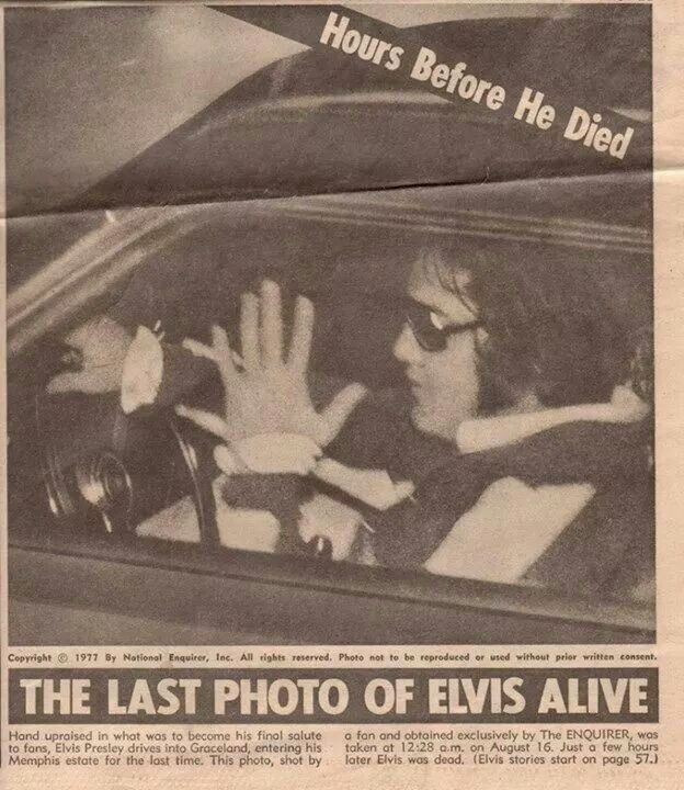 Elvis going through the gates ov Graceland for the last time :( this was the last photo ever taken ov Elvis alive he died only Few hrs later :(