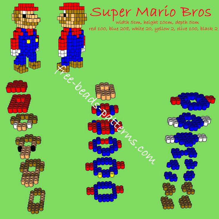 Super Mario Bros free 3d perler beads pattern - free perler beads patterns fuse beads Hama Beads