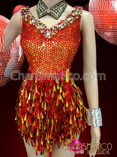 """Orange"" red and gold sequin dress with beaded side cutouts"