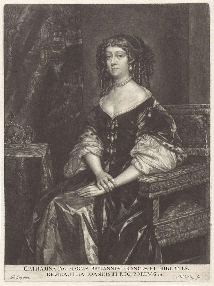 Portret van Catharina, koningin van Engeland, Abraham Bloteling, 1662 - 1690