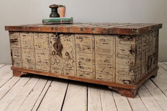 Reclaimed salvaged antique indian wood iron and brass wedding trunk coffee table storage chest Indian trunk coffee table