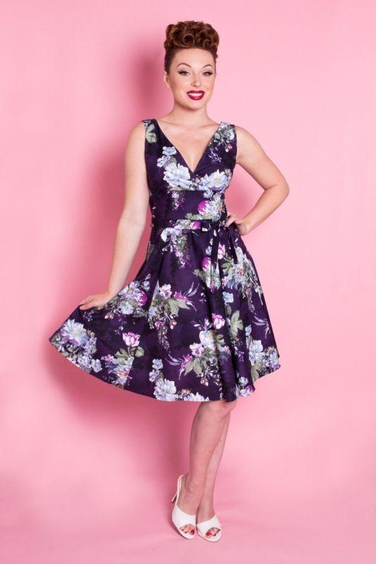 Heart of Haute, Marie Dress River Blossom Plum purple floral print paars bloemen print jurk 1950s style vintage look