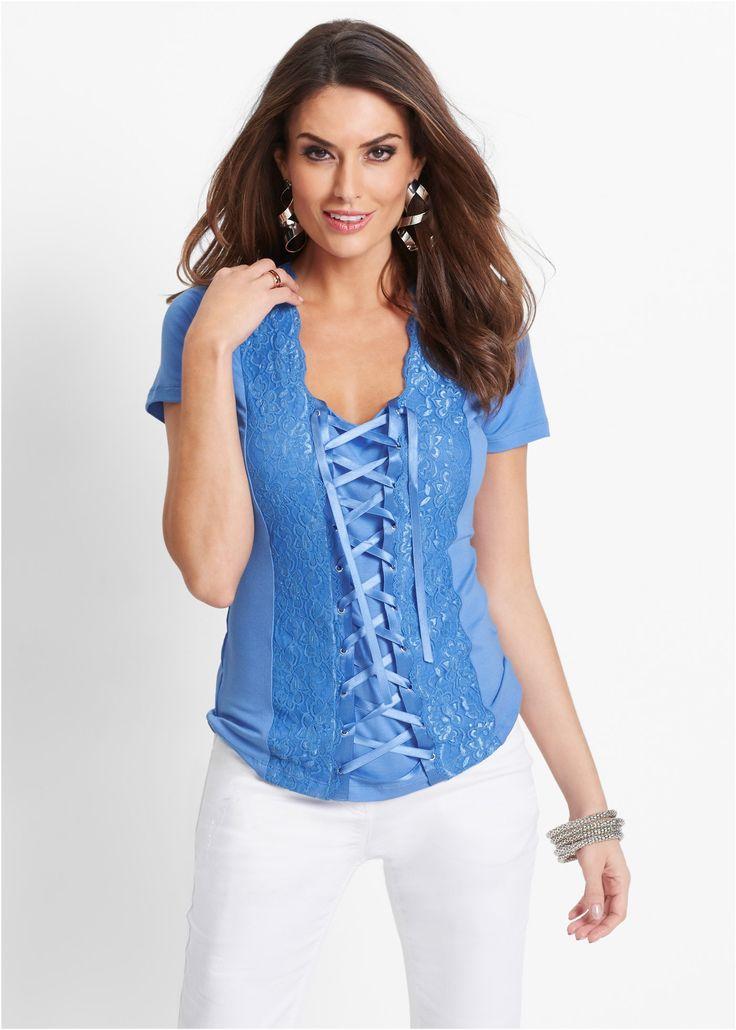 Кружевная футболка на шнуровке, bpc selection premium, голубой