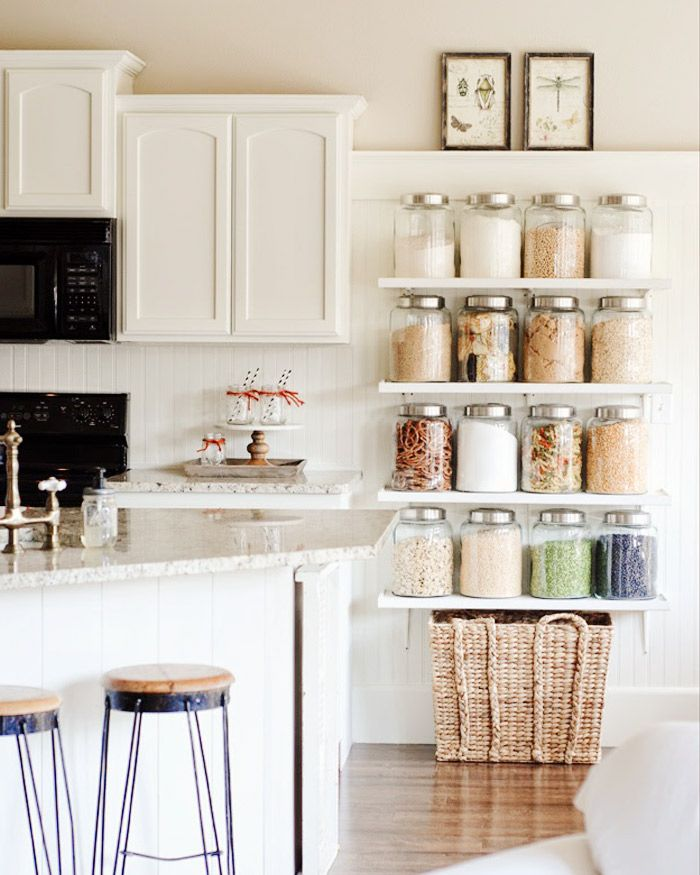 Organized kitchen with jars and baskets