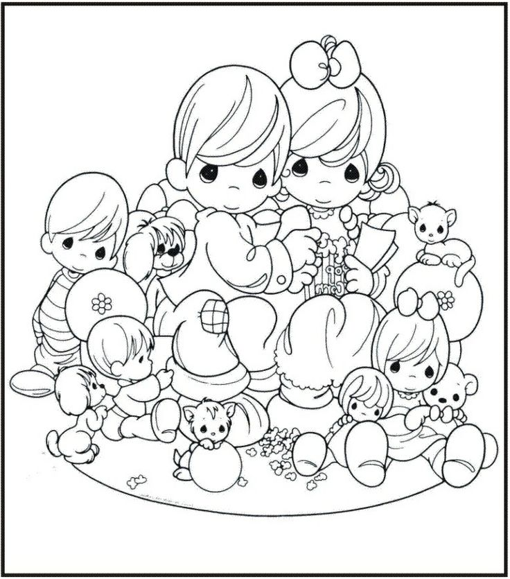 precious moment family coloring pages - photo#3