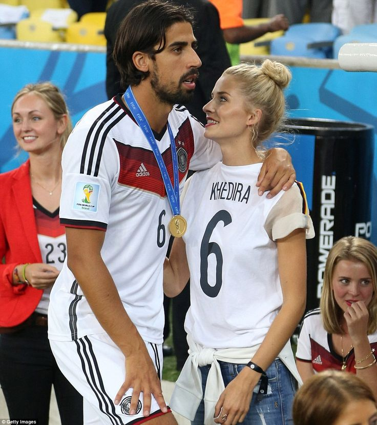 The look of love-She celebrated with boyfriend Sami Khedira on the pitch
