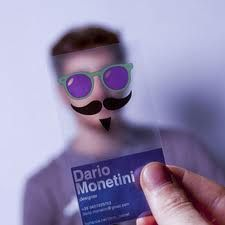 Clever use of clear business cards...funny faces!  How do you like my mustache?