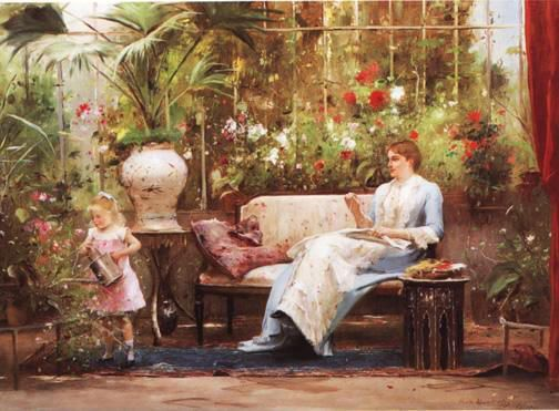 Mihaly Munkacsy (Hungarian-born artist, 1844-1900) In the Conservatory