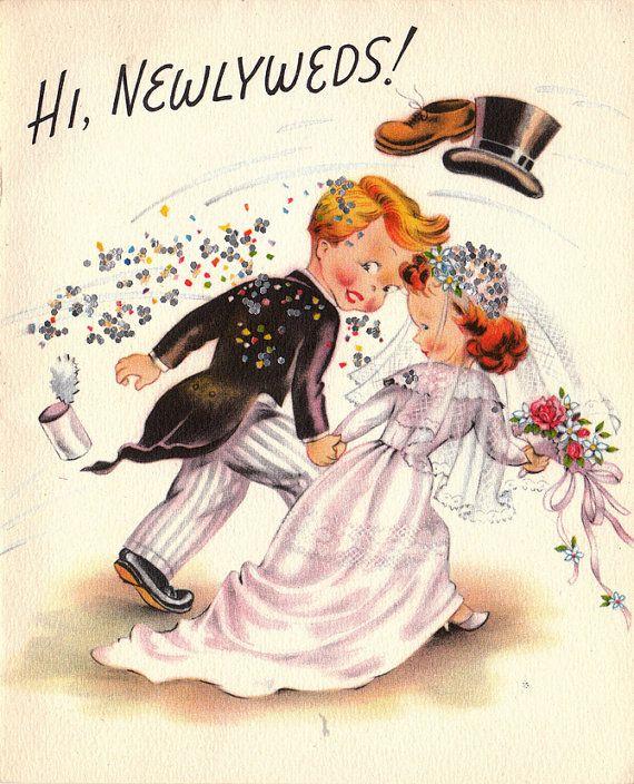 Vintage 1950s Hi Newlyweds Greetings Card B63a