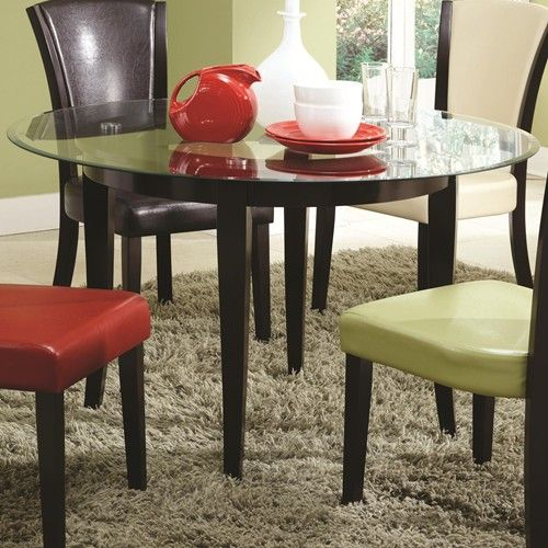 Liven Up Your Dining Or Kitchen Space With This Casual Table Crafted A Rich Espresso Finish It Is Lifted On Pretty Tapered Legs