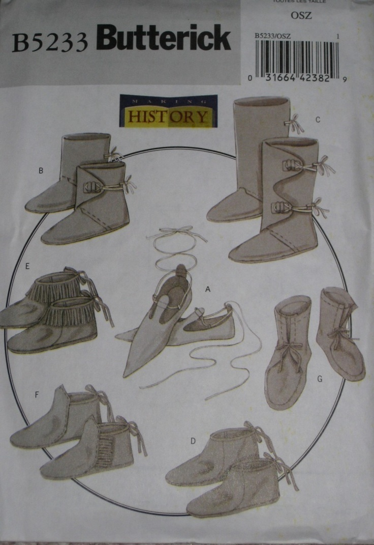 Butterick 5233-- View A for 14th-century shoes?  I wonder if we could make some of these out of a heavy felt with scrap leather soles?