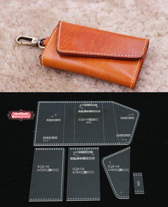 Caja De Cuero Llavero Bolsa De Llave Plantilla De Etsy Leather Key Case Leather Wallet Pattern Leather Craft Patterns