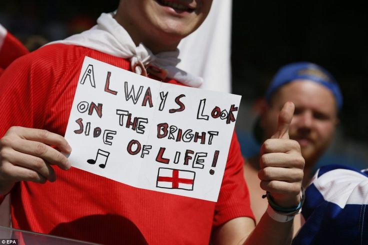 Always look on the bright side of life: One fan holds up this Monty Python inspired banner...