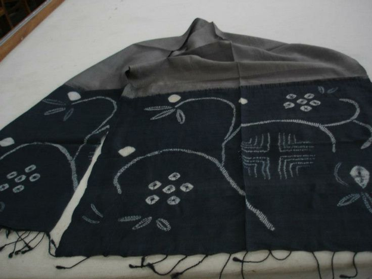 floral pattern grey and blue shibori silk stole
