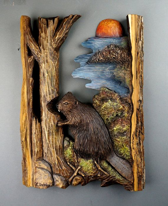 Beaver carved on wood, Sculpture Beaver, the Linden wood, wall decor, unique Piece, wood natural, gift wood, hand carved.