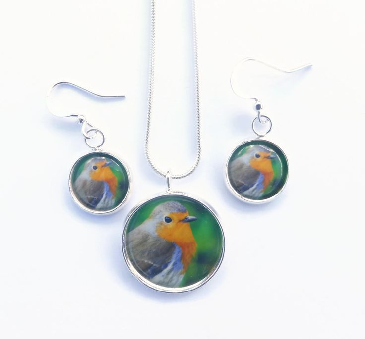 Gift For Gardener, Robin Bird Necklace, Robin Bird Earrings, Garden Jewelry, Bird Jewelry,  Gift For Birder, Christmas Gift, Nature Jewelry by Larryware on Etsy