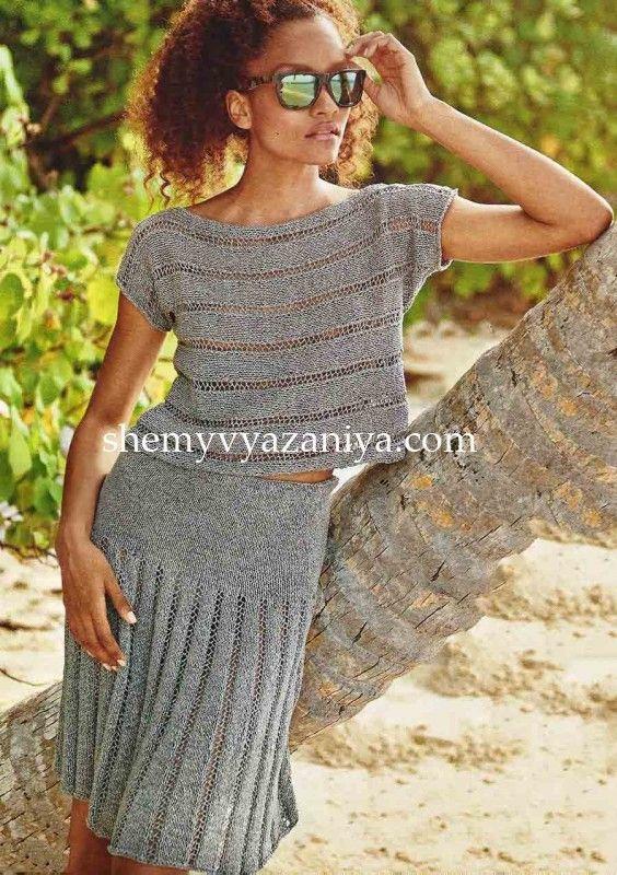 Комплект: топ и юбка с ажурными полосами