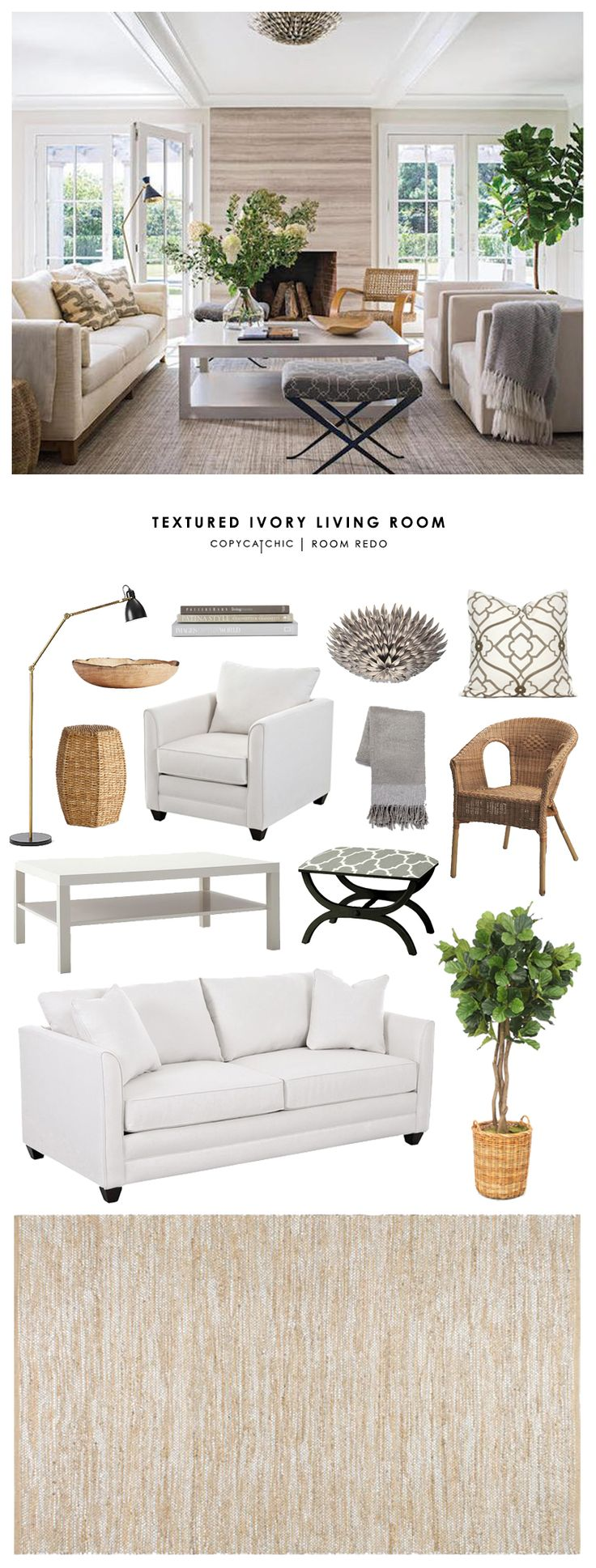 Copy Cat Chic Room Redo | Textured Ivory Living Room