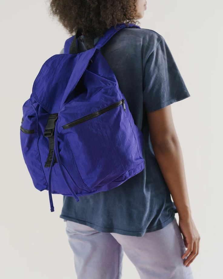 Large Sport Backpack - Cobalt   BAGGU Mens Silver Jewelry, Blue Back, Cool Backpacks, Laptop Sleeves, Leather Backpack, Sporty, My Style, How To Wear, Outfits