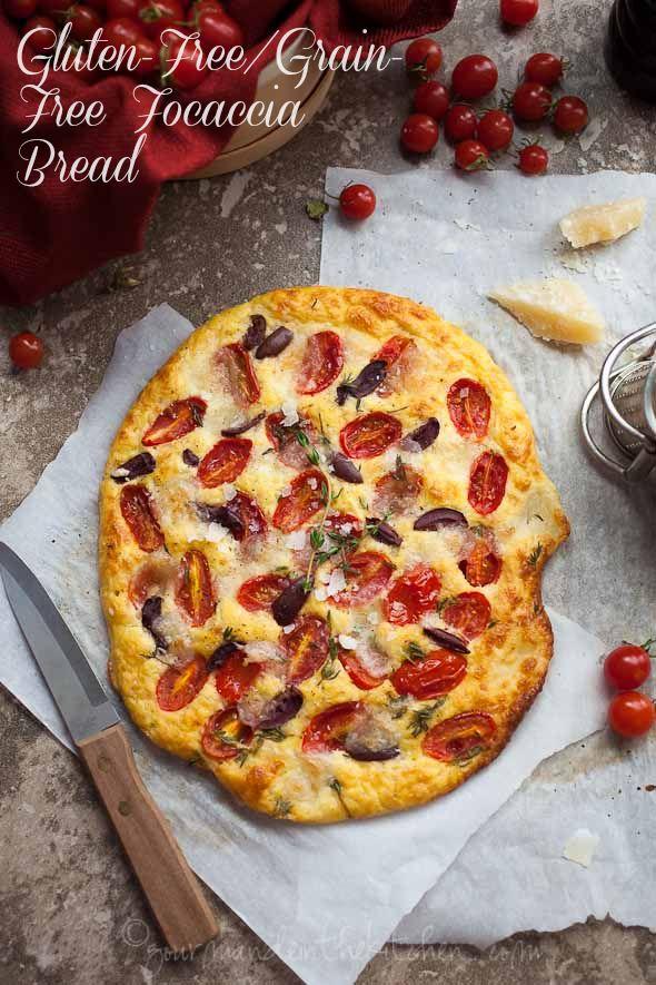 Tomato, Olive and Thyme Focaccia Bread (Gluten-Free, Paleo)