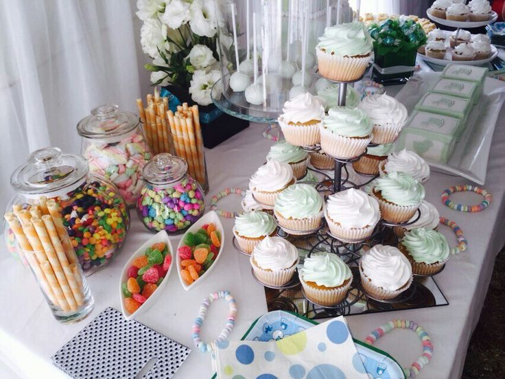 We have fun with the candy table. I find that this element really enhances any theme. It adds something exciting for the kids and grown ups too. I used the cakes an cupcakes to bring out the white an mint green colour. Simple yet elegant.