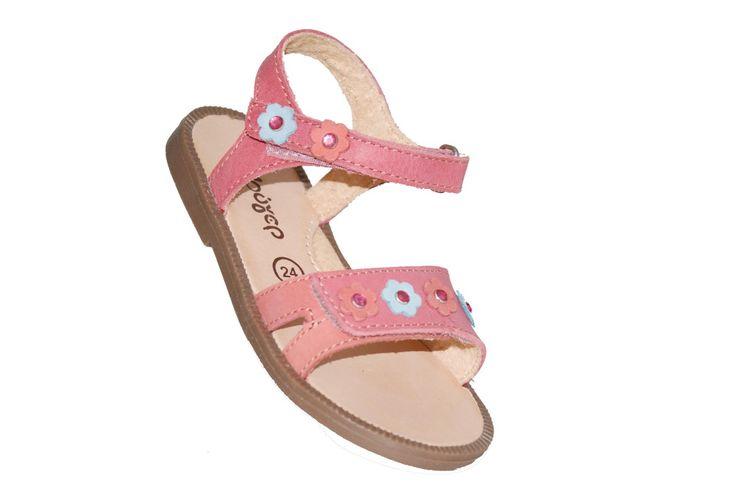 #children #sandals Πέδιλο Μούγερ δερμάτινο, κοραλλί με λουλουδάκια & στρας και με αυτοκόλλητα κουμπώματα. www.mouyer.gr/store/products/collections/season2015S/itemA16103-7600-23
