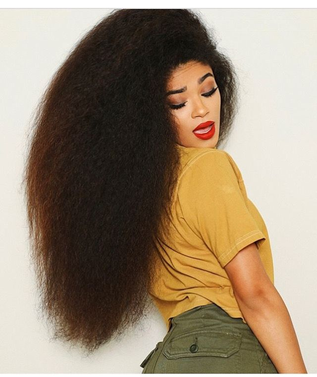 Jasmean Brown Long Brushed Out Curly Natural Hair Red Lip