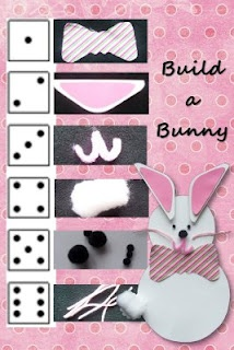 """Build a Bunny (like Cooties)    The kids and I put together a bunny building game. The game is a """"hoppy"""" way to practice counting the dots on a dice & following directions. Each of us began the game with a blank bunny form. On each turn we rolled the dice. Depending on the number rolled, the kids followed the key to pick the next part of their bunny. If they rolled a number they already had, they passed the dice on without adding to their creation."""