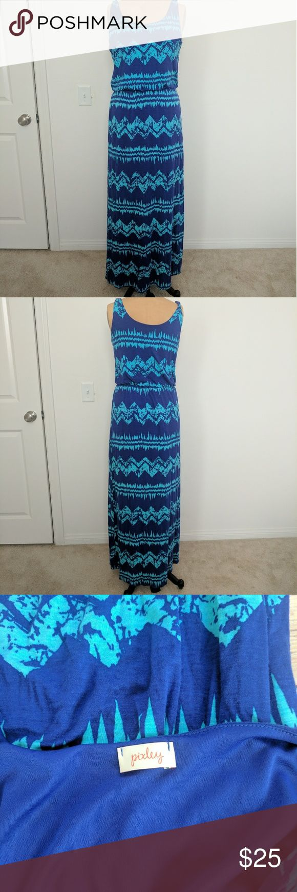 Pixley by Stitch fix jacobe Chevron max dress Excellent condition, no wear. Pixley by Stitch fix. Color are blue and greenish aqua, Size Large Bust: 19inches armpit to armpit with stretch, Waist is elastic going from 13-19inches and Length: 56inches shoulder down. Perfect for summer! pixley Dresses Maxi
