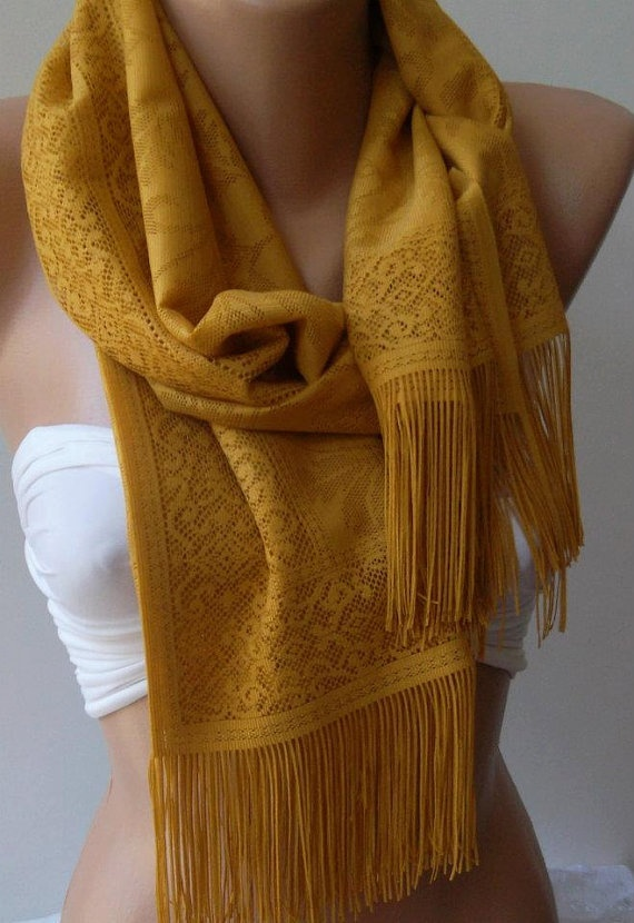 Dark Yellow Elegance and Lace Shawl / Scarf Pareo by womann, $19.90
