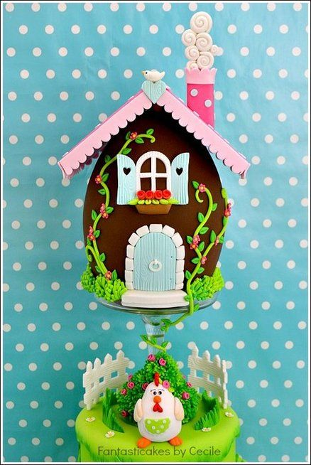 Easter Egg House Cake - by CecileCrabot @ CakesDecor.com - cake decorating website