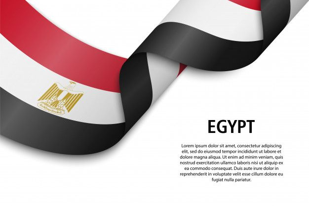 Waving Ribbon Or Banner With Flag Egypt Flag Free Photoshop